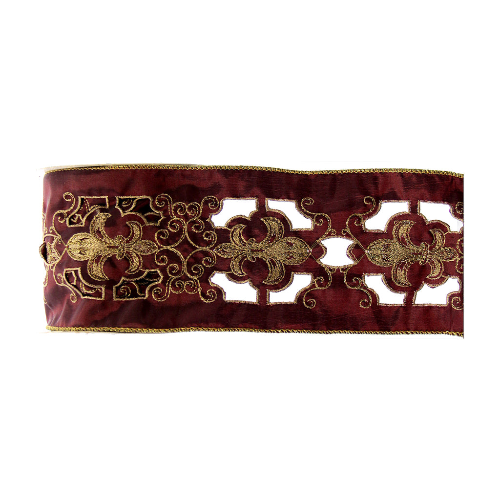 Embroidered Wired Ribbon Garnet and Gold  Fleur De Lis