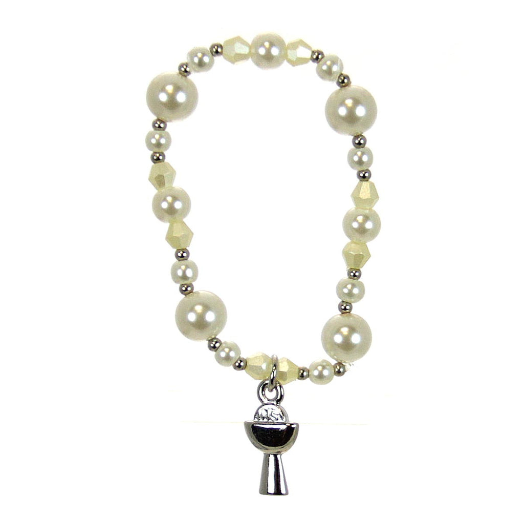 Communion Bracelet Chalice and Host Silver Pearl