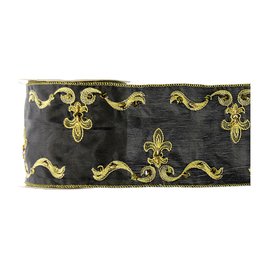 Fleur De Lis Embroidered Black Ribbon