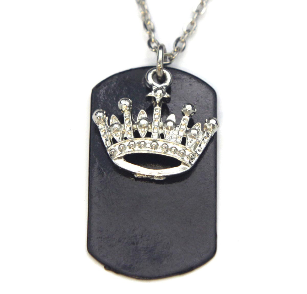 Crown Necklace Dog Tag Black