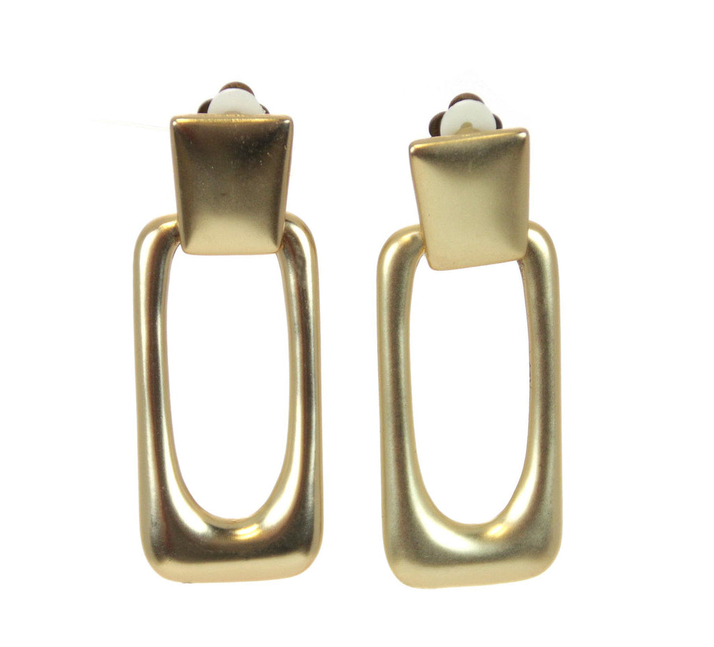Rectangle Gold Clip Earrings