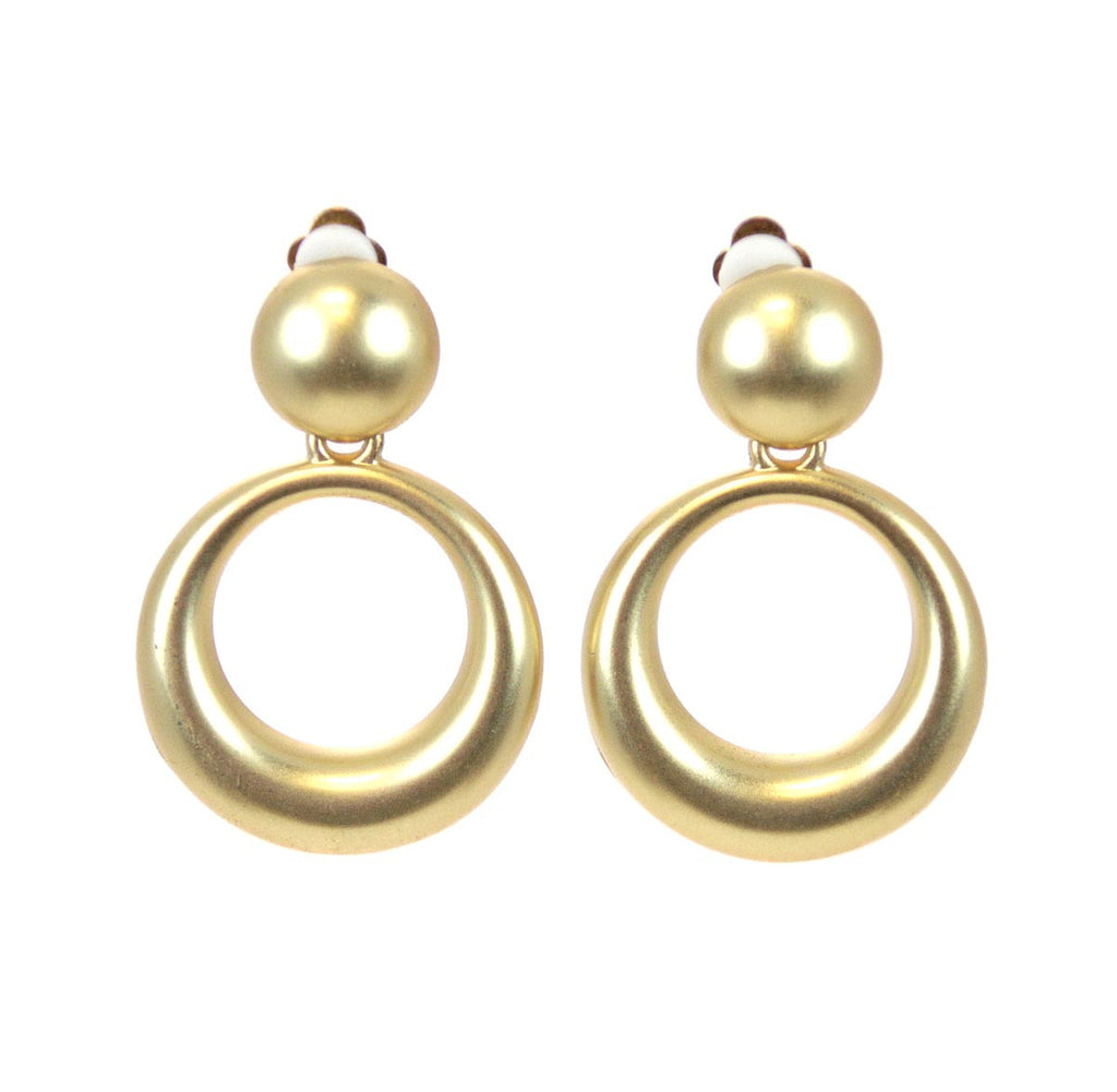 Round Gold Clip Earrings
