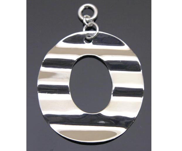 Circle Wavy Pendant Sterling Silver