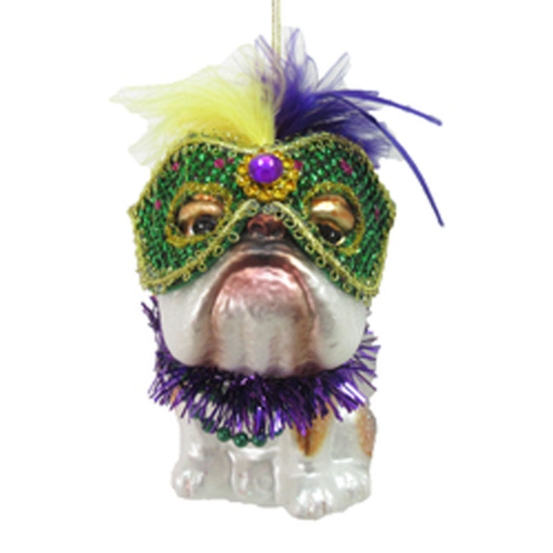 Bulldog Mardi Gras Mask Ornament