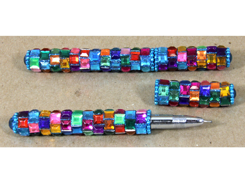 Rainbow Mosaic Pen - Blue
