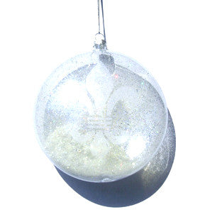 Frosted Fleur De Lis Blown Glass Ornament