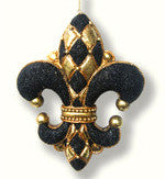 Diamond Fleur De Lis Ornament Black