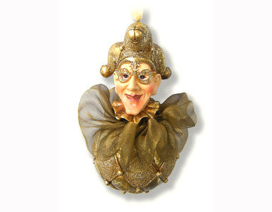 Jester Head on a Harlequin Ball Ornament Gold