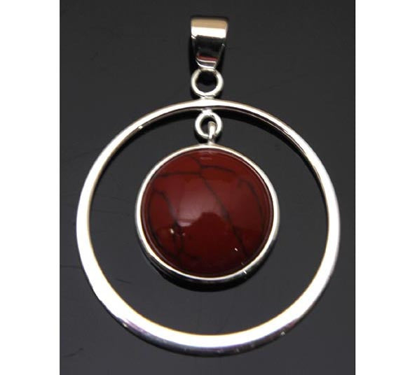 Red Turquoise Circle Sterling Silver Pendant