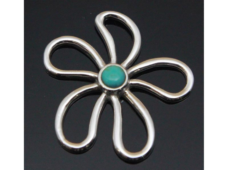 Turquoise Flower Pendant Sterling Silver