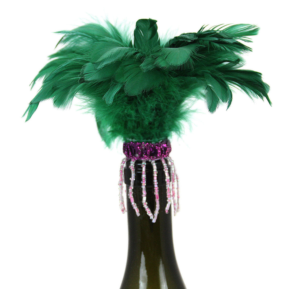 Bottle Stopper Feathers Green