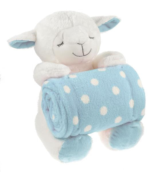 Ganz Baby Sitting Lamb w/Blanket - Blue