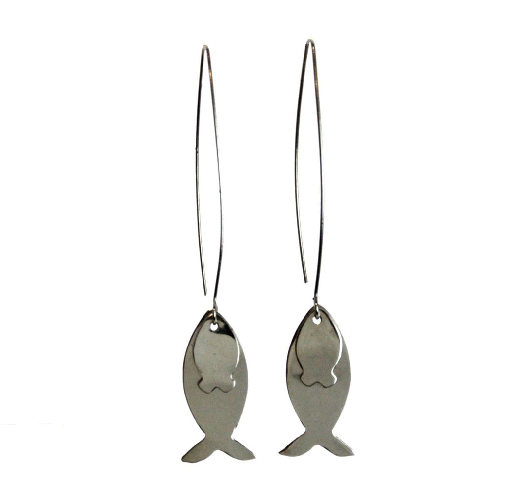 Fish Threader Earrings Sterling Silver
