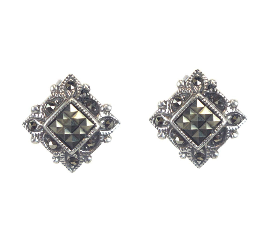 Sterling Silver Square Marcasite Earrings