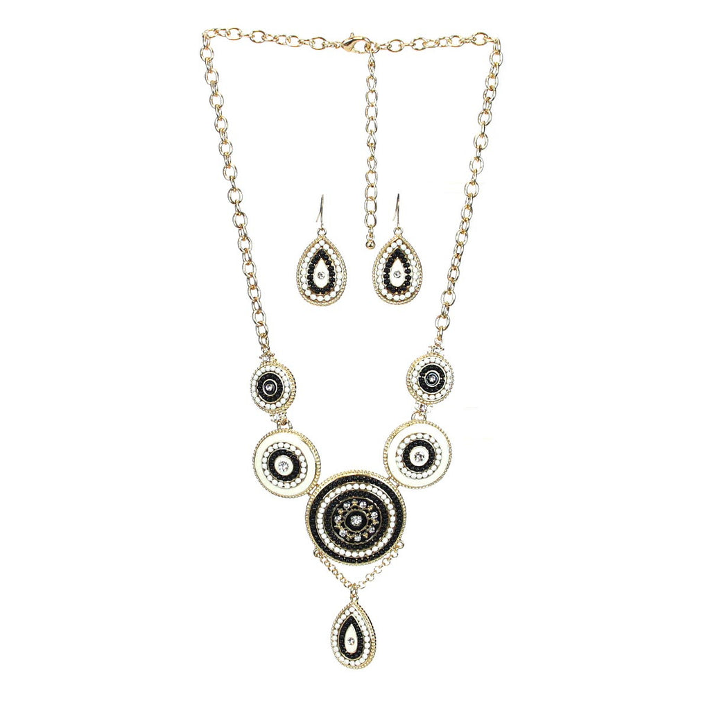 Bib Necklace & Earring Set - Black/Beige