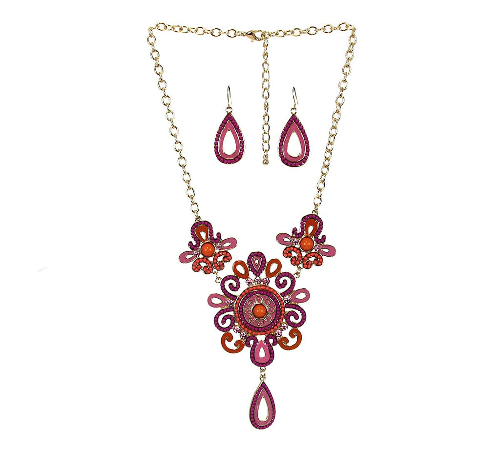 Bib Necklace & Earring Set - Coral