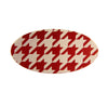 Houndstooth Oval Barrette Red