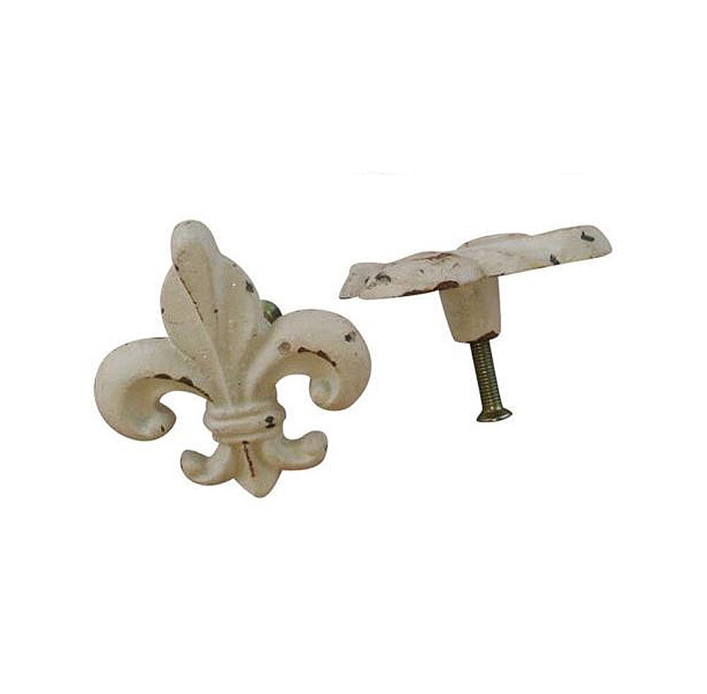 Drawer Knobs Fleur De Lis Antiqued white