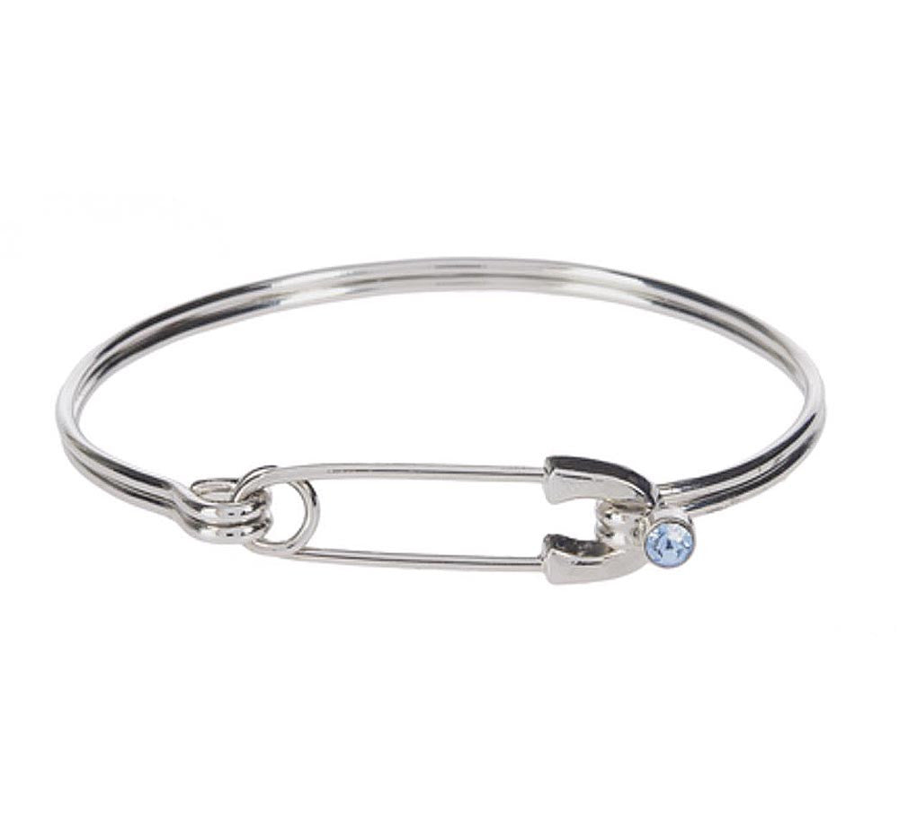 Diaper Pin Bangle Bracelet - Blue