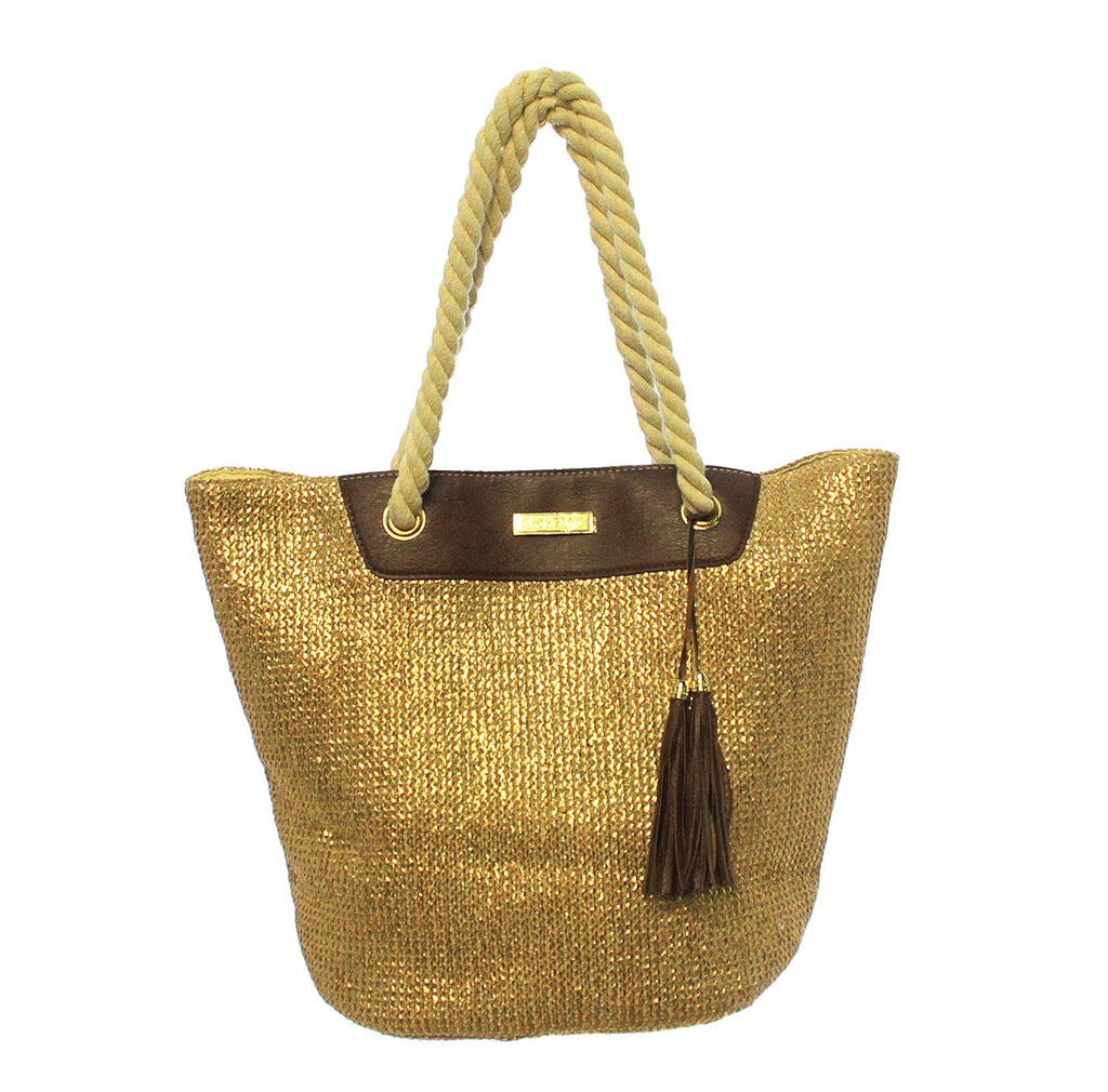 Charlie Paige Paper Straw Bag - Gold
