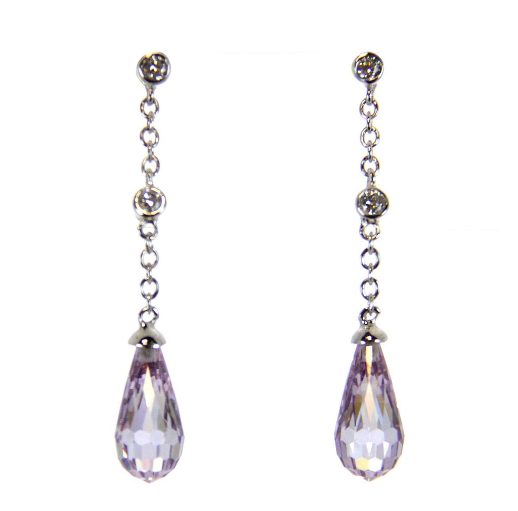 Lavender CZ Drop Sterling Silver Earrings