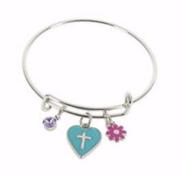 Le Petite Dangle Bangle - Heart Cross