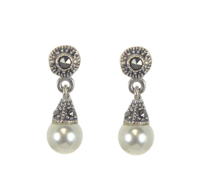 Sterling Silver Pearl & Marcasite Earrings
