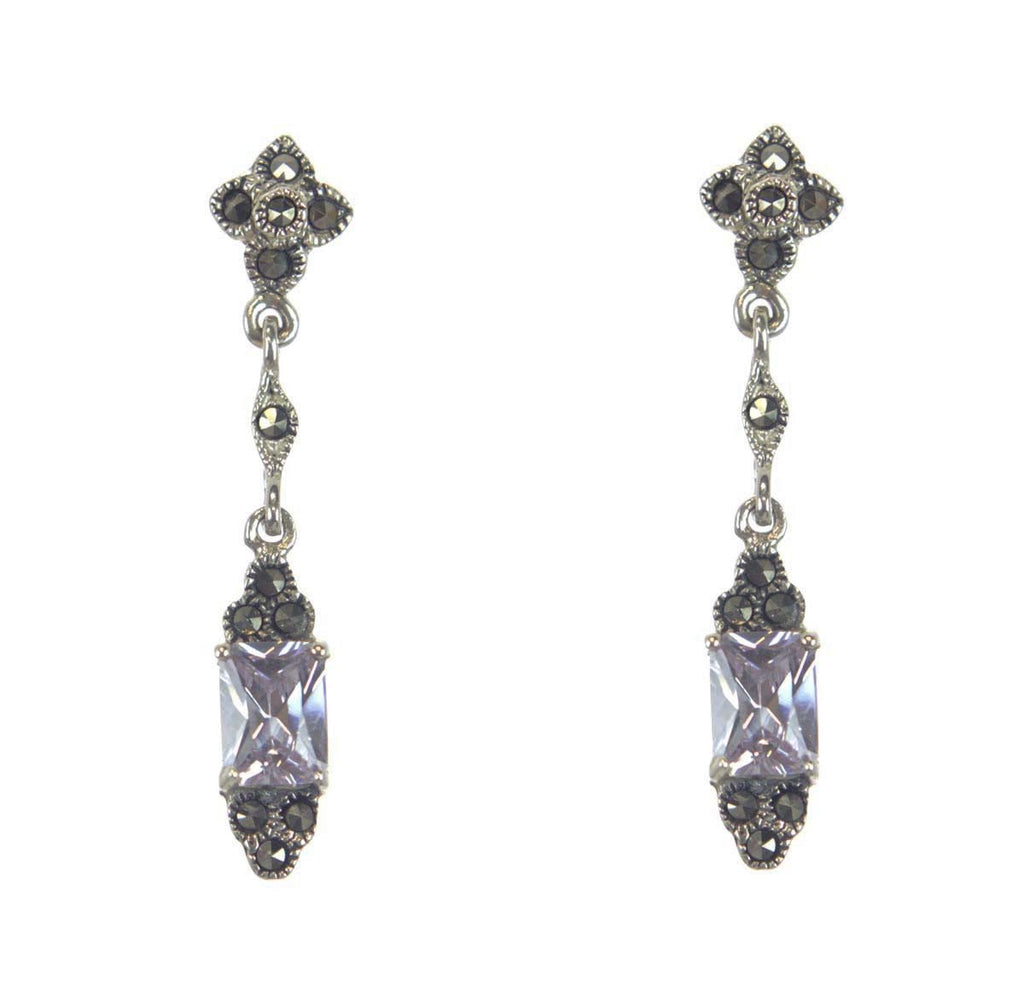 Sterling Silver Lavender CZ  Marcasite Earrings