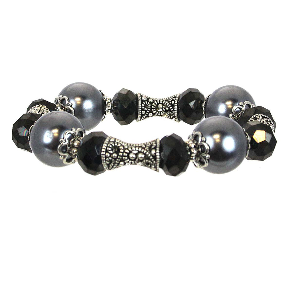 Bracelet Beads Grey Pearls