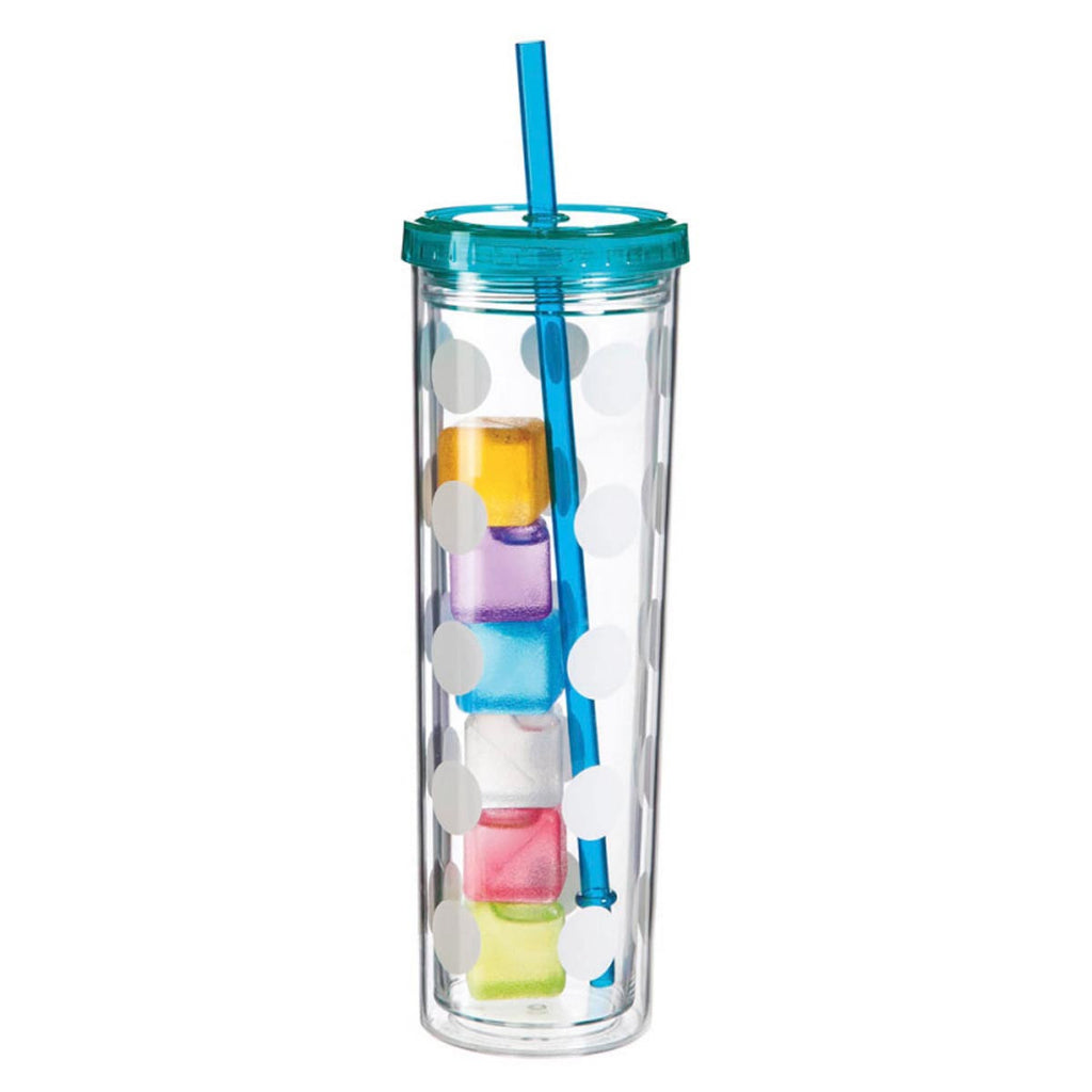 Skinny Polka Dot Cup with Ice Cubes - Blue