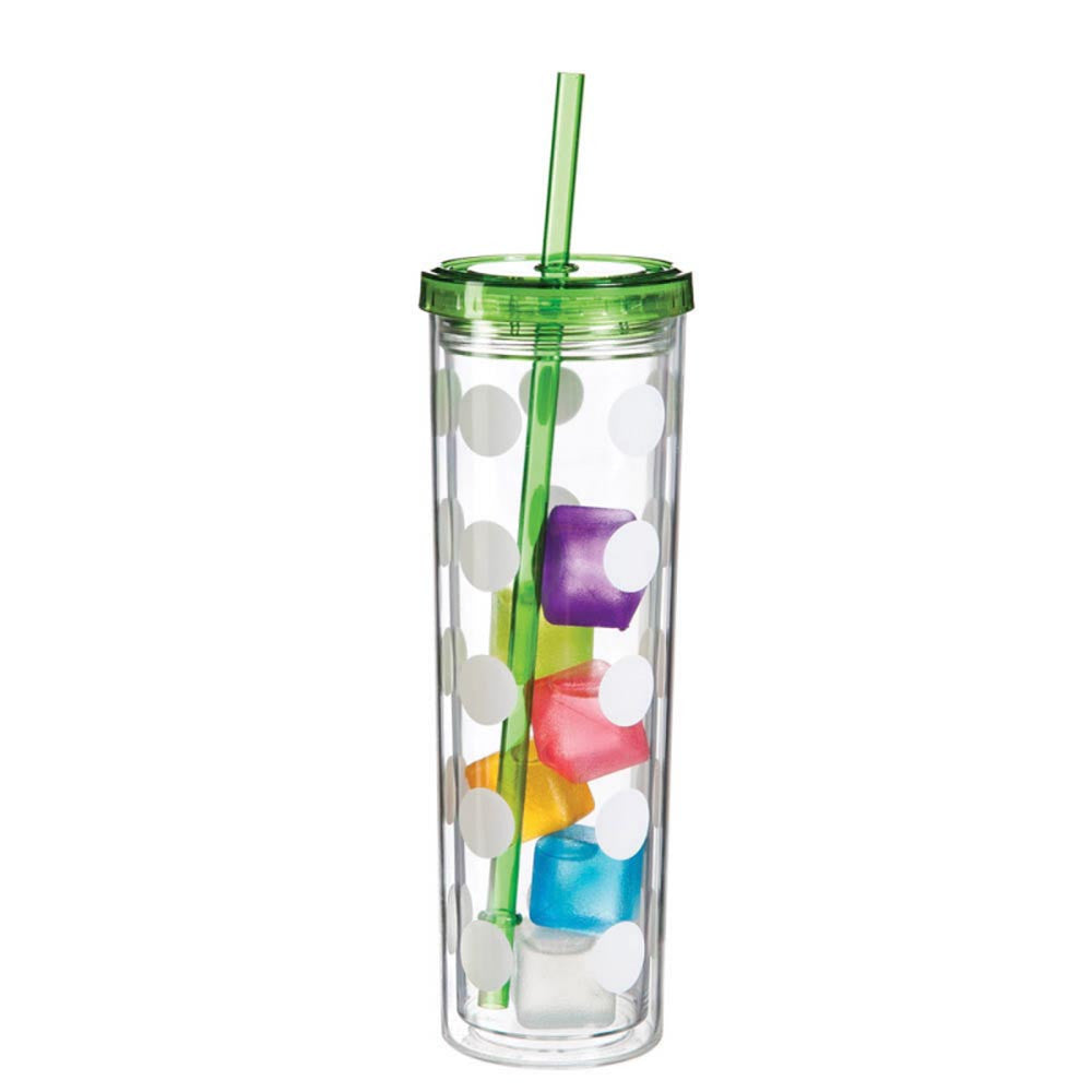 Skinny Polka Dot Cup with Ice Cubes - Green