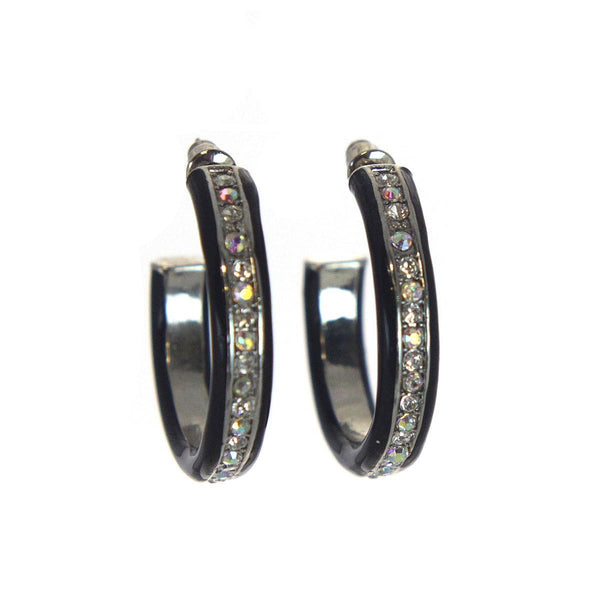 Black Hoop Earrings with Aurora Borealis Rhinestones