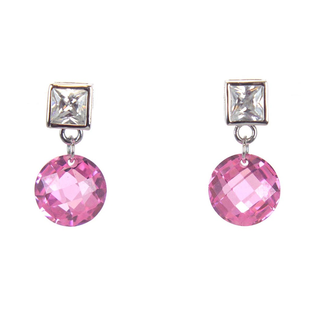Sterling Silver Rose CZ Earrings