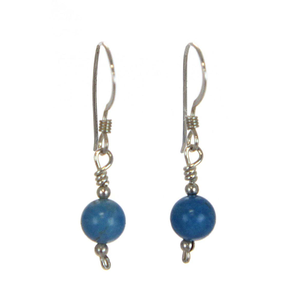 Turquoise Bead Earrings Sterling Silver