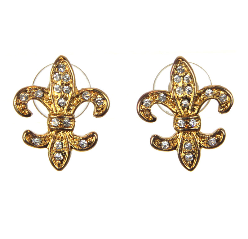 Fleur De Lis Crystal Earrings, Gold