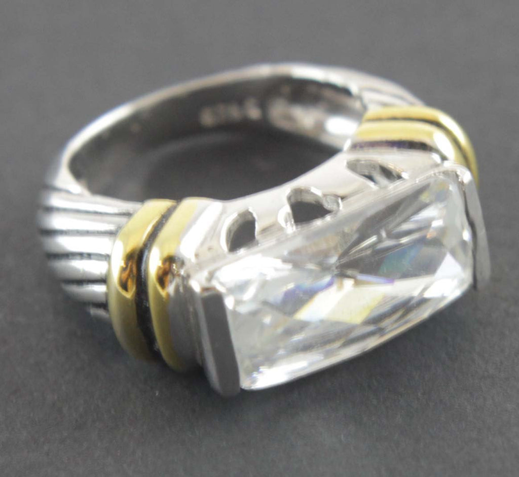 Sterling Silver Diamond Zirconia Ring Size 6