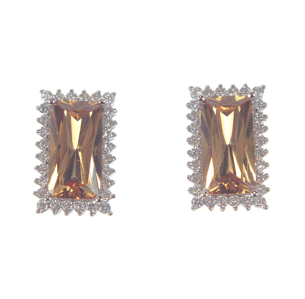 Sterling Silver Earrings Topaz & CZ