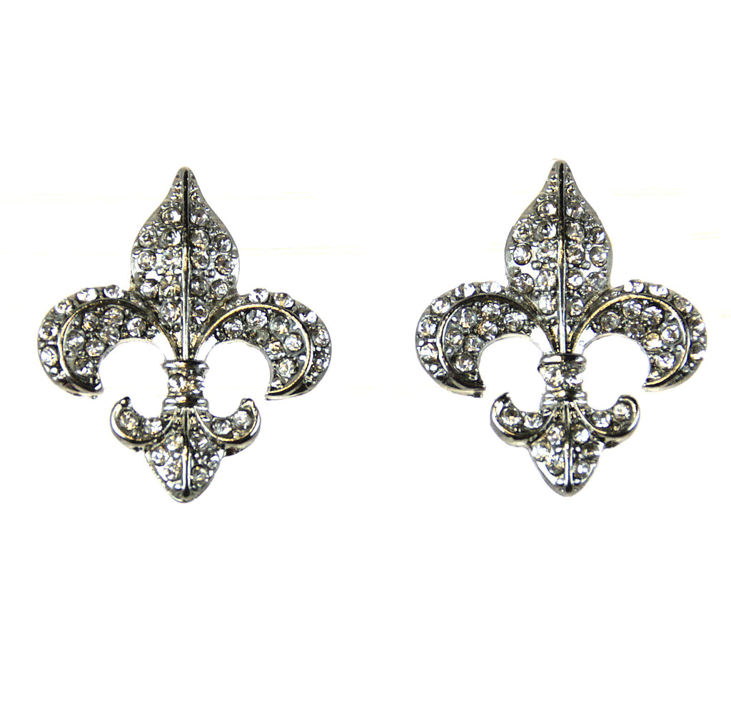 Fleur De Lis Rhinestone Earrings