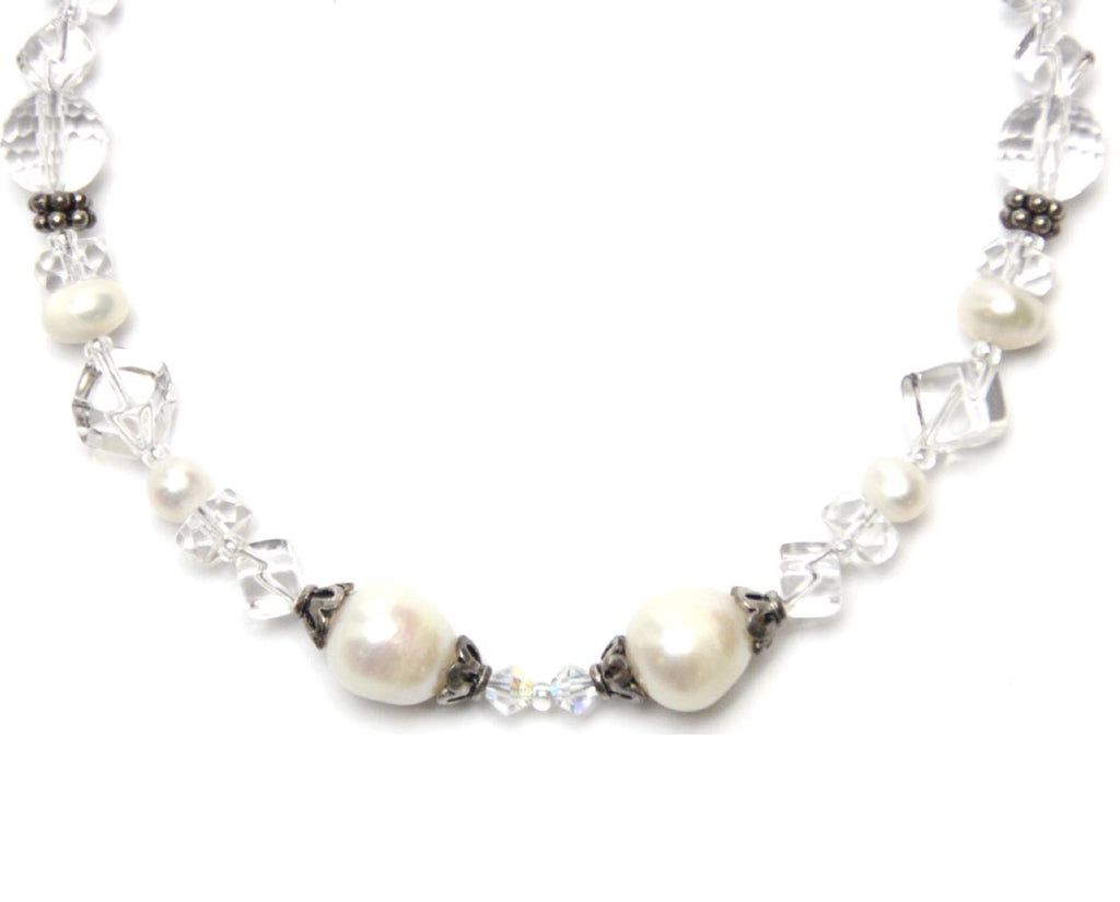 Gemstone Quartz Pearls Necklace