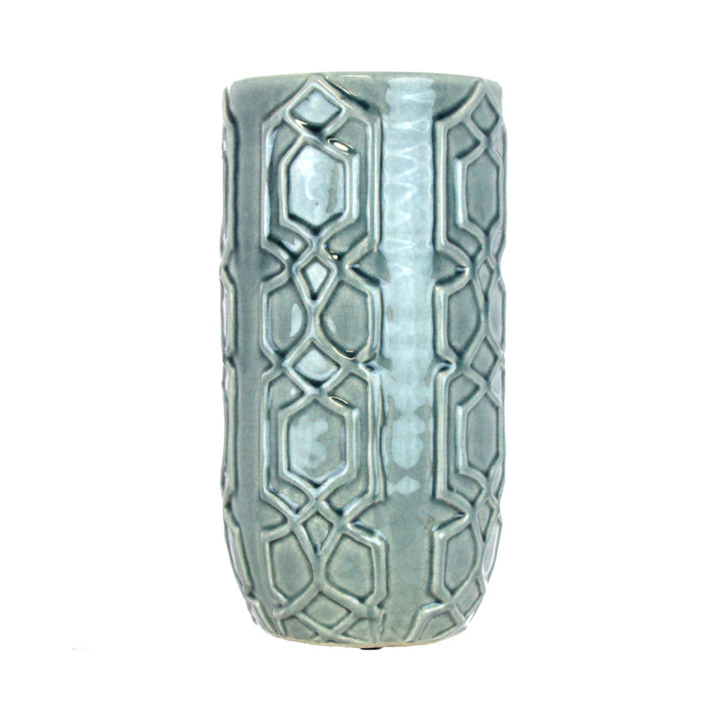 Blue Ceramic Hurricane Vase