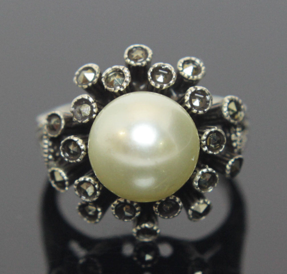 Sterling Silver Pearl Marcasite Ring Size 6