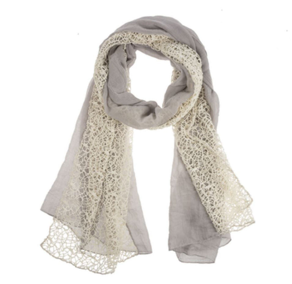 Two Panel Open Weave Scarf - Grey