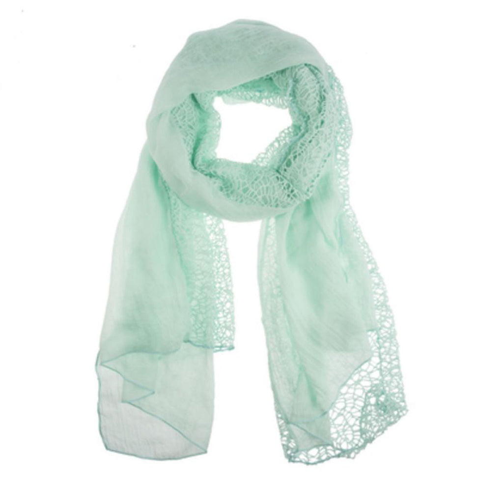 Two Panel Open Weave Scarf - Sea Foam