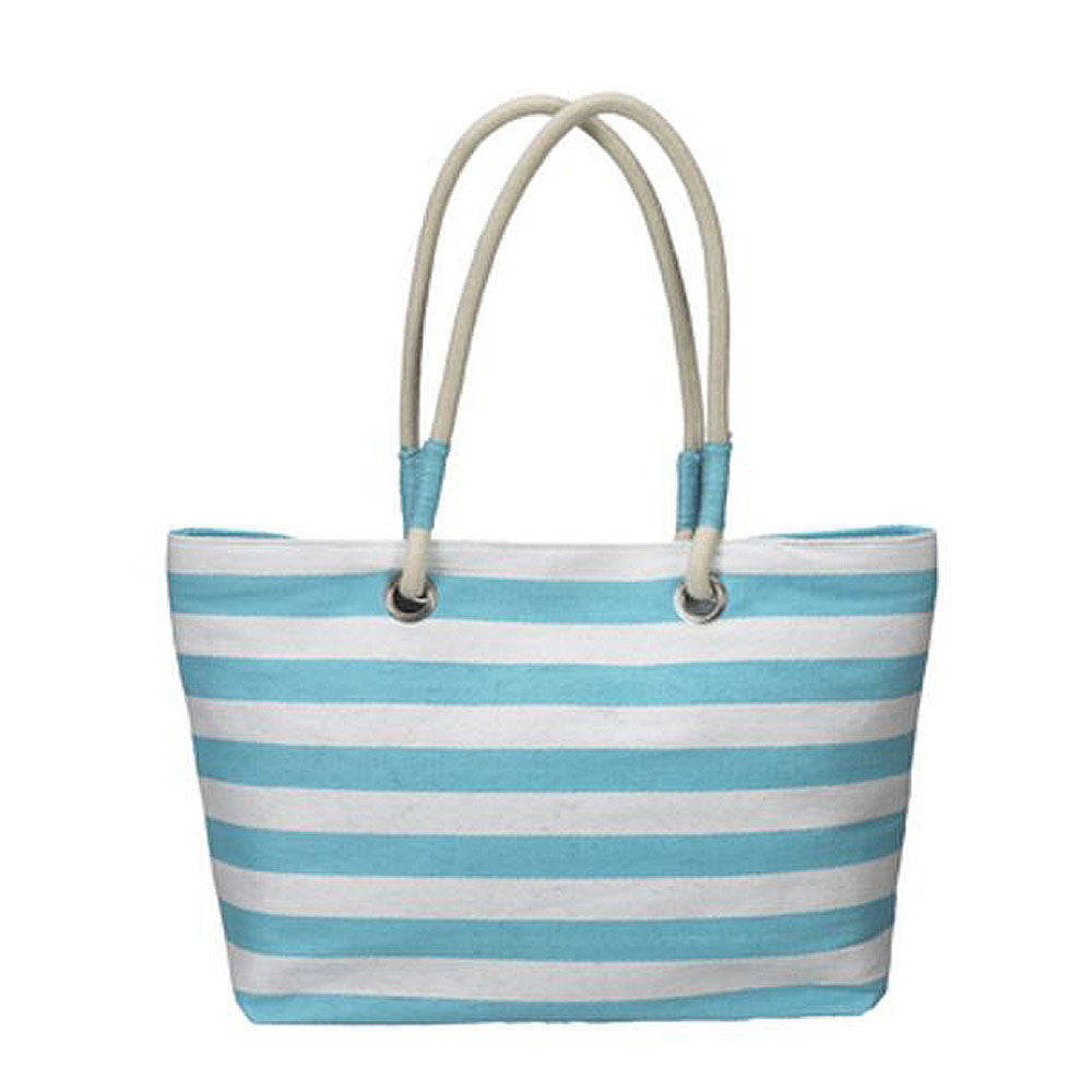 Striped Tote Bag - Sea Foam