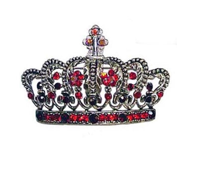 Silver/Red Crown with gems Pin