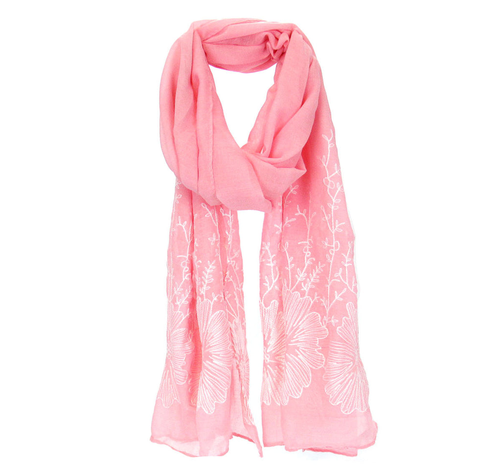 Flower Embroidered Scarf - Pink
