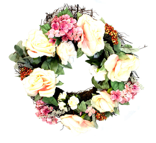 "20"" Vine Wreath with Roses, Hydrangeas, and Berries"