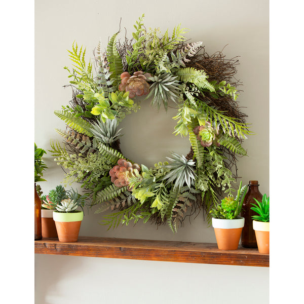 "22"" Succulent and Fern Spiral  Wreath"