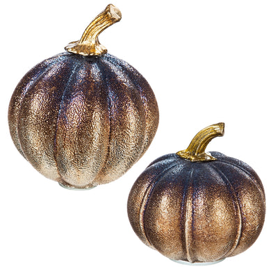 Metallic Glass Pumpkin, set of 2