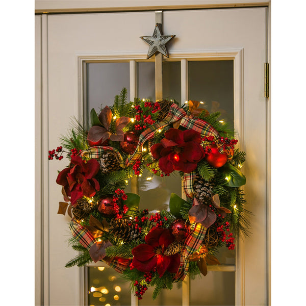 "24"" LED Wreath with Plaid Ribbon, Red Ornaments, Berries, and Pine cone"